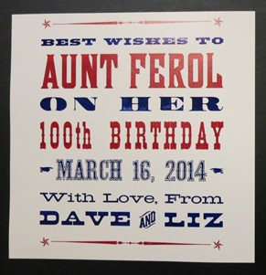 Ferol's 100th Birthday
